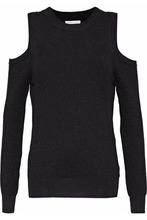 Rebecca Minkoff | Rebecca Minkoff Woman Page Cold-shoulder Metallic Waffle-knit Sweater Black Size S | Clouty