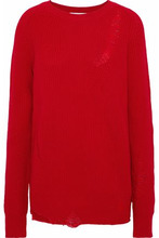 Helmut Lang | Helmut Lang Woman Distressed Wool And Cashmere-blend Sweater Red Size L | Clouty