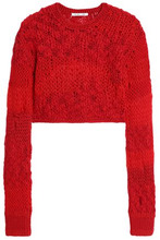 Helmut Lang | Helmut Lang Woman Cropped Open-knit Wool-blend Sweater Red Size M | Clouty