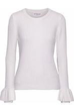 Derek Lam 10 Crosby | Derek Lam 10 Crosby Woman Ruffled Ribbed-knit Sweater Ivory Size M | Clouty