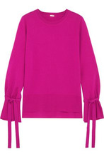 Adam Lippes | Adam Lippes Woman Bow-detailed Knitted Wool Top Fuchsia Size M | Clouty