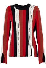 Derek Lam 10 Crosby | Derek Lam 10 Crosby Woman Open Knit-trimmed Striped Cotton-blend Sweater Tomato Red Size M | Clouty