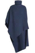 Agnona | Agnona Woman Asymmetric Ribbed Cashmere Turtleneck Poncho Royal Blue Size M | Clouty