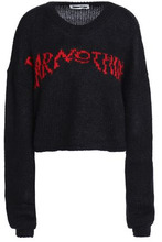McQ Alexander Mcqueen | Mcq Alexander Mcqueen Woman Intarsia Mohair-blend Sweater Black Size L | Clouty