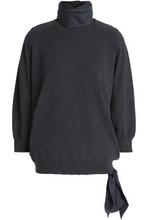 Brunello Cucinelli | Brunello Cucinelli Woman Layered Cashmere And Silk-blend Turtleneck Sweater Dark Gray Size M | Clouty