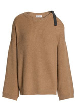Brunello Cucinelli | Brunello Cucinelli Woman Cutout Bead-embellished Ribbed Cashmere Sweater Camel Size M | Clouty
