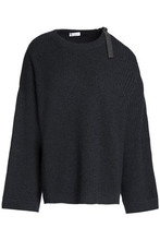 Brunello Cucinelli | Brunello Cucinelli Woman Cutout Bead-embellished Ribbed Cashmere Sweater Charcoal Size XS | Clouty