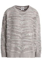Brunello Cucinelli | Brunello Cucinelli Woman Bead And Sequin-embellished Open-knit Cashmere Sweater Taupe Size M | Clouty