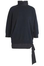 Brunello Cucinelli | Brunello Cucinelli Woman Layered Cashmere And Silk-blend Turtleneck Sweater Midnight Blue Size L | Clouty