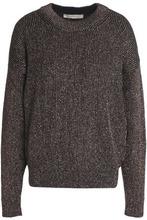 Vanessa Bruno | Vanessa Bruno Woman Metallic Ribbed-knit Sweater Black Size M | Clouty