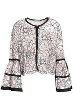 Lela Rose | Lela Rose Woman Fluted Corded Lace Jacket Pastel Pink Size 10 | Clouty