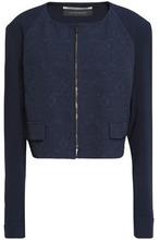 Roland Mouret | Roland Mouret Woman Jacquard And Crepe Jacket Navy Size 18 | Clouty