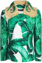 Dolce & Gabbana | Dolce & Gabbana Woman Embellished Printed Cotton-blend Jacket Green Size 42 | Clouty
