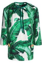 Dolce & Gabbana | Dolce & Gabbana Woman Printed Cotton And Silk-blend Jacquard Jacket Green Size 38 | Clouty