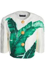 Dolce & Gabbana   Dolce & Gabbana Woman Cropped Printed Cotton And Silk-blend Jacquard Jacket White Size 40   Clouty