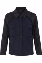 Maison Margiela | Maison Margiela Woman Stripe-paneled Virgin Wool Twill Jacket Navy Size 44 | Clouty