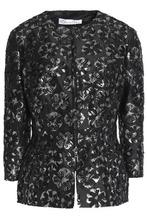 Oscar De La Renta   Oscar De La Renta Woman Metallic Jacquard Jacket Black Size 6   Clouty