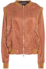 BALMAIN   Balmain Woman Two-tone Satin Jacket Brown Size 40   Clouty