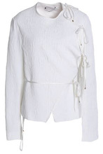 Rosetta Getty   Rosetta Getty Woman Cloque Wrap Jacket White Size 6   Clouty
