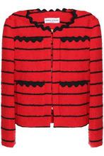 Sonia Rykiel | Sonia Rykiel Woman Striped Boucle-tweed Jacket Red Size 34 | Clouty