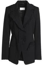 Maison Margiela | Maison Margiela Woman Ruffle-trimmed Shantung Blazer Black Size 42 | Clouty