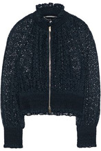 Stella McCartney | Stella Mccartney Woman Shirred Cotton-blend Lace Jacket Navy Size 36 | Clouty
