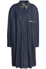 MM6 Maison Margiela   Mm6 By Maison Margiela Woman Button-embellished Denim Jacket Dark Denim Size 42   Clouty