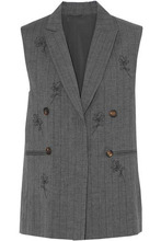 Brunello Cucinelli | Brunello Cucinelli Woman Bead-embellished Pinstriped Wool And Linen-blend Vest Anthracite Size 42 | Clouty