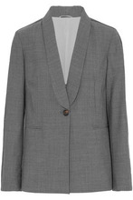 Brunello Cucinelli | Brunello Cucinelli Woman Bead-embellished Wool-blend Blazer Gray Size 42 | Clouty