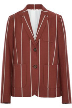 Brunello Cucinelli | Brunello Cucinelli Woman Striped Cotton-faille Blazer Brick Size 42 | Clouty