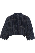 Brunello Cucinelli | Brunello Cucinelli Woman Sequin And Tulle-embellished Silk-blend Jacket Midnight Blue Size S | Clouty