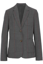 Brunello Cucinelli | Brunello Cucinelli Woman Striped Wool-blend Blazer Anthracite Size 44 | Clouty