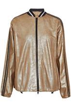 Brunello Cucinelli | Brunello Cucinelli Woman Metallic Coated Suede Bomber Jacket Gold Size 42 | Clouty