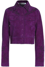 McQ Alexander Mcqueen   Mcq Alexander Mcqueen Woman Floral-embroidered Suede Cropped Jacket Violet Size 36   Clouty
