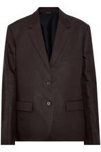 JIL SANDER | Jil Sander Woman Linen-twill Blazer Dark Brown Size 40 | Clouty