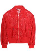 Maje   Maje Woman Guipure Lace Bomber Jacket Red Size 38   Clouty