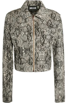 JUST CAVALLI | Just Cavalli Woman Snake-effect Cotton-blend Jacket Animal Print Size 42 | Clouty