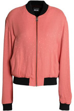 JUST CAVALLI | Just Cavalli Woman Appliqued Brushed-jacquard Bomber Jacket Antique Rose Size 42 | Clouty