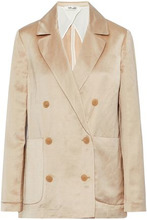 Diane Von Furstenberg | Diane Von Furstenberg Woman Double-breasted Linen-blend Satin Jacket Beige Size 8 | Clouty