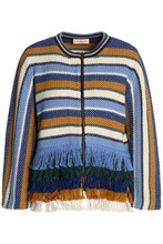 Tory Burch   Tory Burch Woman Frayed-trimmed Striped Cotton Jacket Multicolor Size L   Clouty