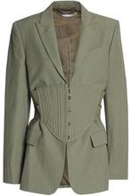 Stella McCartney   Stella Mccartney Woman Woven Corset Jacket Army Green Size 40   Clouty