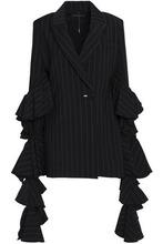 Ellery   Ellery Woman Tiered Ruffled Striped Woven Jacket Black Size 8   Clouty