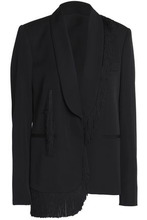 Stella McCartney | Stella Mccartney Woman Fringe-trimmed Wool Jacket Black Size 40 | Clouty