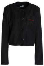 Love Moschino   Love Moschino Woman Embroidered Pinstriped Gabardine Jacket Charcoal Size 46   Clouty