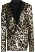 Haider Ackermann   Haider Ackermann Woman Double-breasted Metallic Leopard-print Silk-blend Blazer Animal Print Size 38   Clouty
