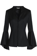Alice + Olivia | Alice+olivia Woman Bell-sleeved Wool-blend Blazer Black Size 0 | Clouty