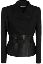 Tom Ford | Tom Ford Woman Leather-paneled Woven Jacket Black Size 38 | Clouty