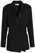 Sandro   Sandro Paris Woman Satin-trimmed Crepe Wrap Blazer Black Size 40   Clouty