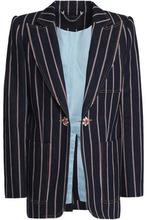 Marc Jacobs | Marc Jacobs Woman Crystal-embellished Striped Denim Blazer Dark Denim Size 4 | Clouty