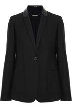 Elie Tahari | Elie Tahari Woman Wendy Snake-effect Leather-trimmed Wool-blend Twill Blazer Black Size 8 | Clouty